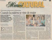 """Tiempos del Mundo, en su sección """"Miami Cultural"""" dedica media página al artículo de la periodista colombiana Adriana Herrera sobre el V Encuentro Internacional de Escritoras Clara Lair y Julia de Burgos."""