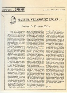 """Manuel Velasquez Rojas habla en su columna de opinión sobre """"la poeta de Puerto Rico"""" en El Peruano, Perú (17 de octubre de 1998)"""