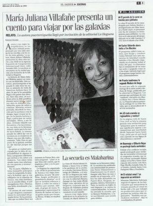 Reseña en el periódico El Deber de Bolivia en miércoles 22 de octubre de 2003.