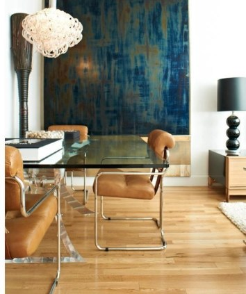 Color Forecast Pantone Spring 2014 Color Report Sand Dining Room Floor and Leather Chairs Oversized Abstract Wall Art