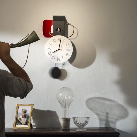 Attimo orologio a cucù da parete cassa in lamiera laccata movimento a vista