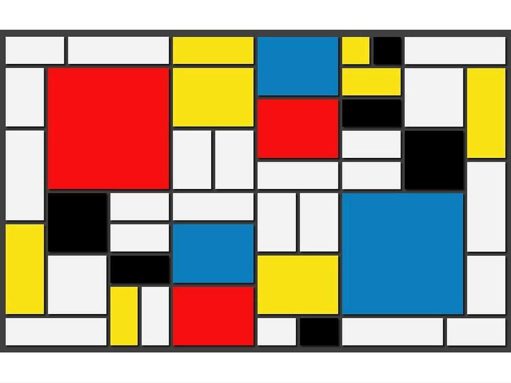 Tela con colori primari Mondrian, quadrati rossi, blu, gialli con righe nere orizzontali e verticali su sfondo bianco