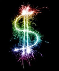 Colourful rainbow sparking dollar symbol