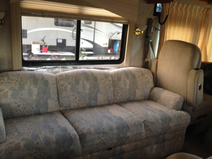 RVing with kids; RV sofa bed