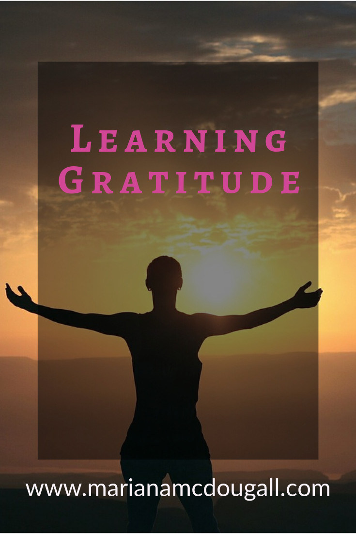 Learning Gratitude; adding gratitude to everyday life; learning to find the silver linings