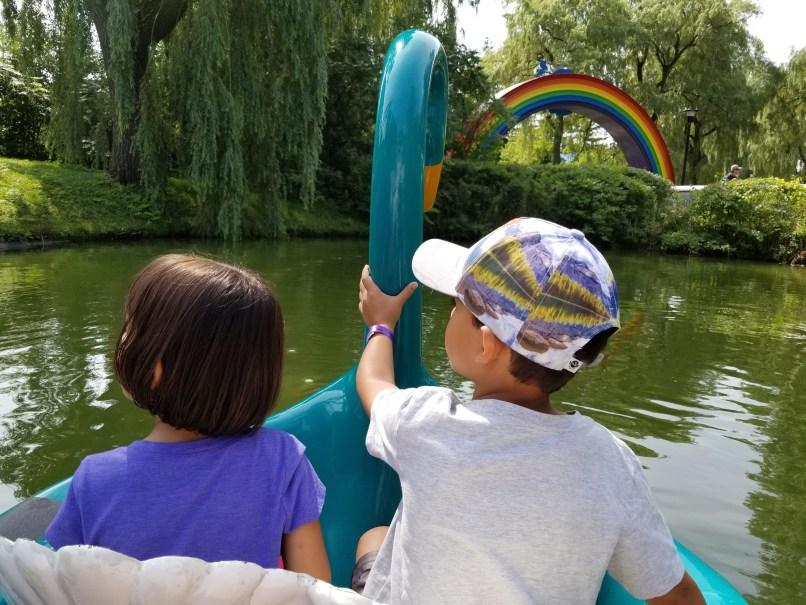 Two kids on swan lake ride at Canada's Wonderland