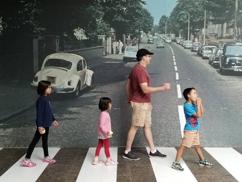 Pretending to be The Beatles at the Museeu of Civilization in Quebec City
