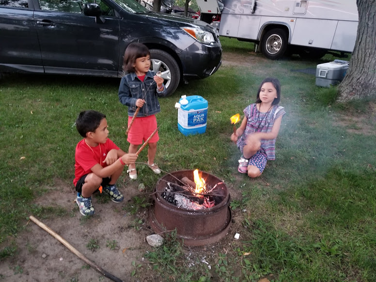 roasting marshmallows at EUL campground; rving with kids