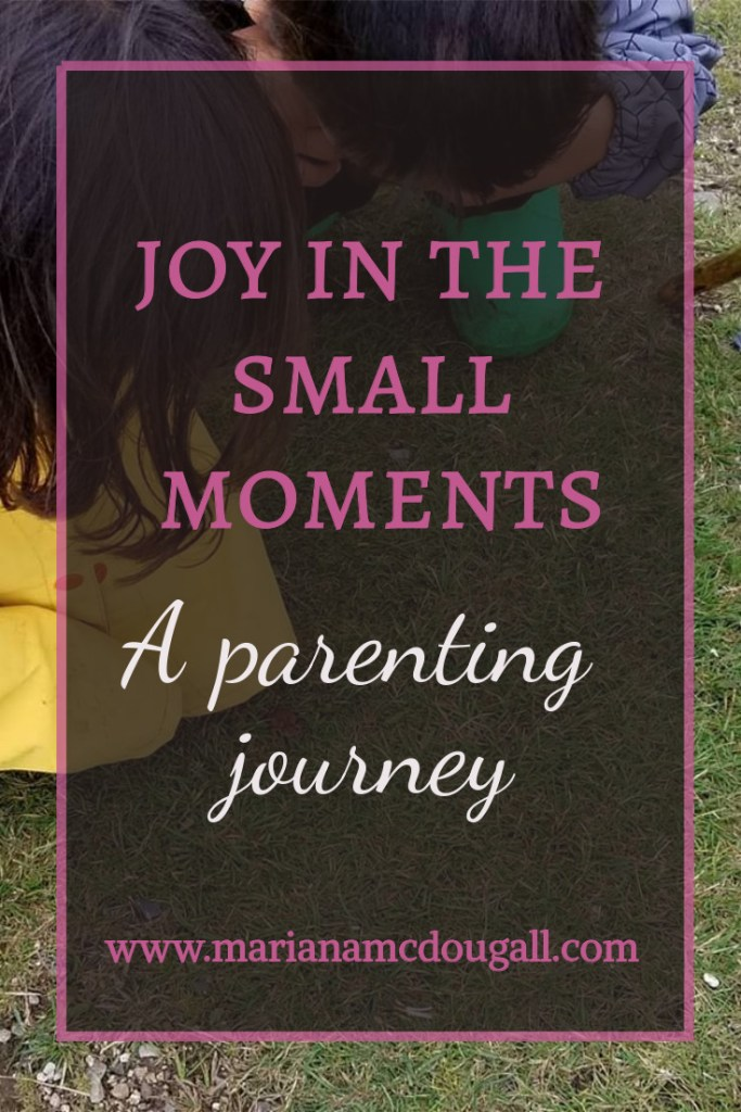 Joy in the small moments, a parenting journey, www.marianamcdougall.com, pink and white text on faint black background with pink border, in front of a picture of 2 young children crouching down to observe a small frog.