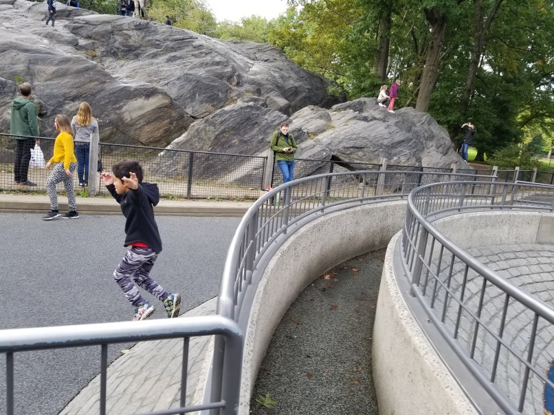 Boy jumping off playground structure at New York City's Central Park. There is a railing beside him and a large rock behind him.