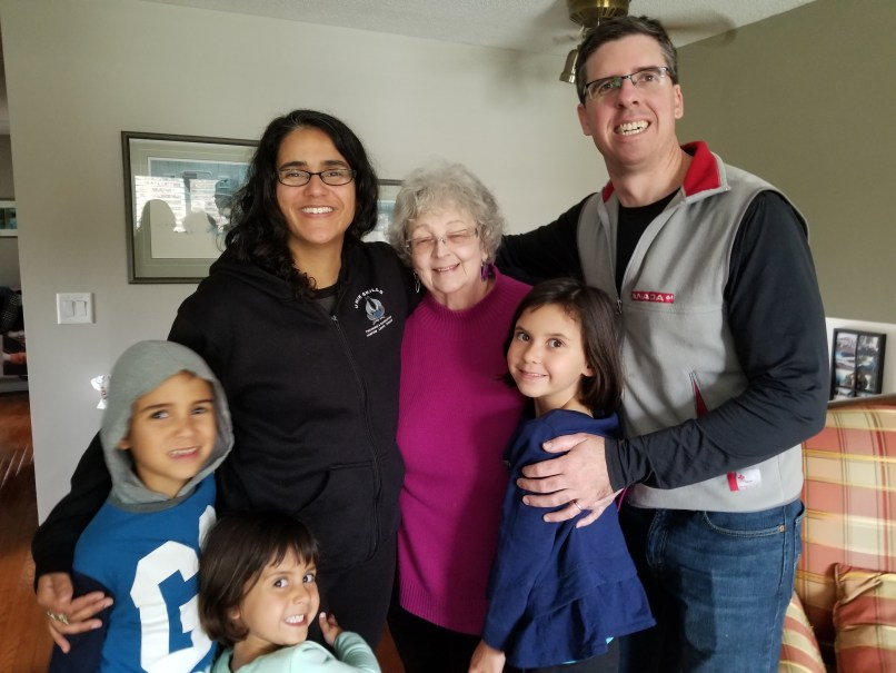 Photo of McDougall family with Aunt Pat