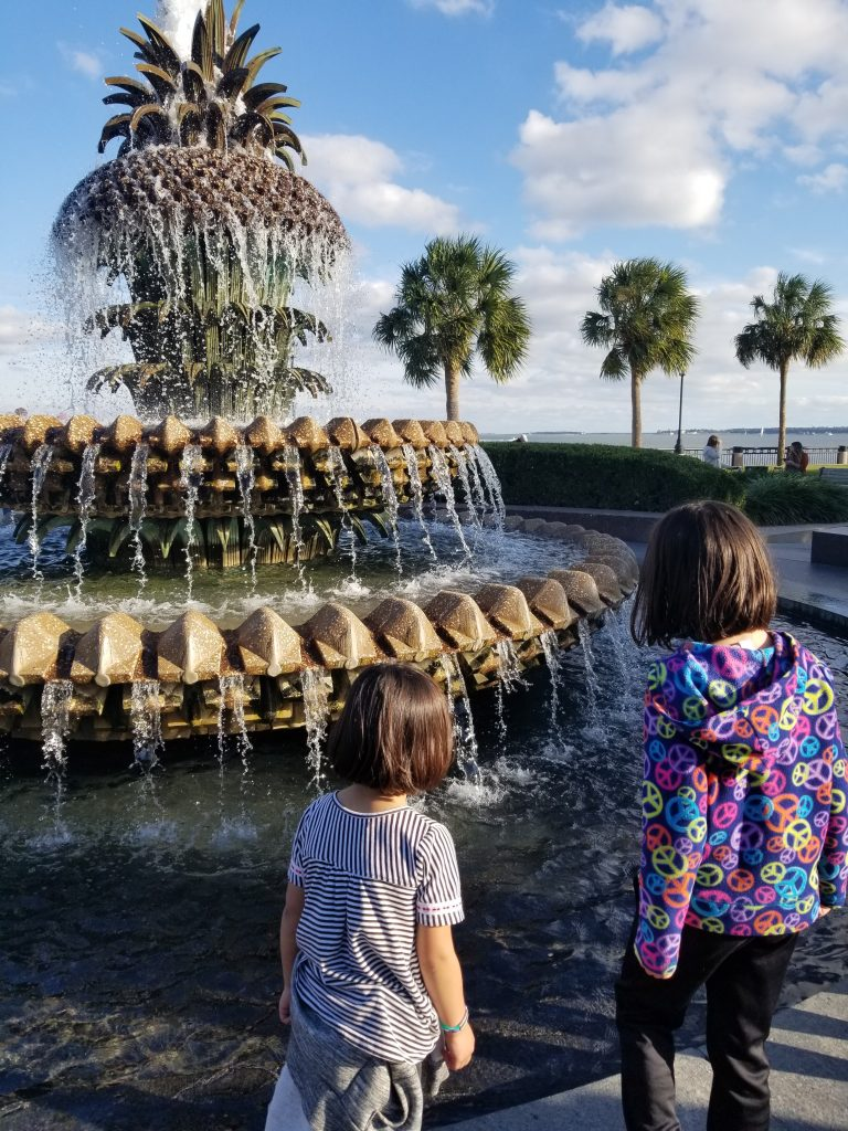 Two girls are seeing from the back, looking at the pineapple fountain in Charleston, South Carolina