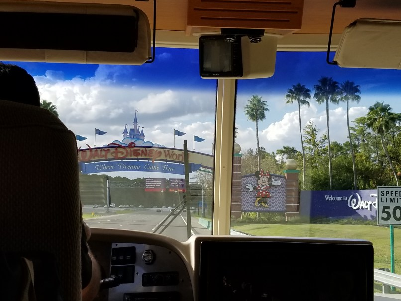 Walt Disney World sign as seen from the dash of an RV