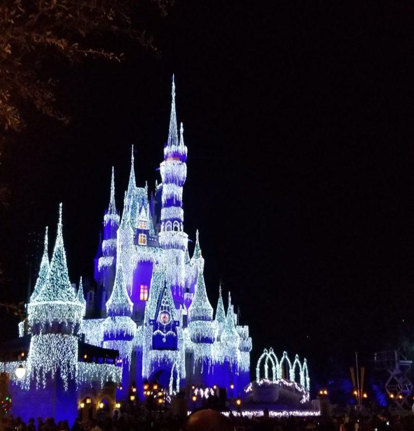 Walt Disney World Castle lit up for Christmas