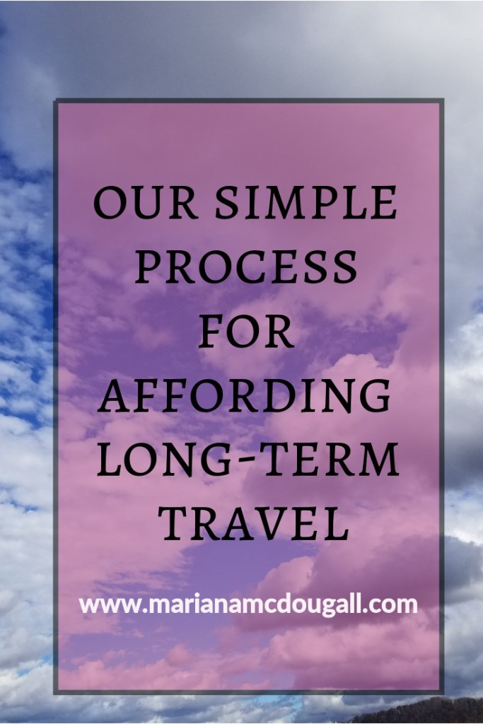 "Pinterest Image, black and white lettering on faint pink background: ""Our Simple Process for Affording Long-Term Travel, www.marianamcdougall.com,"" text set against image of clouds"