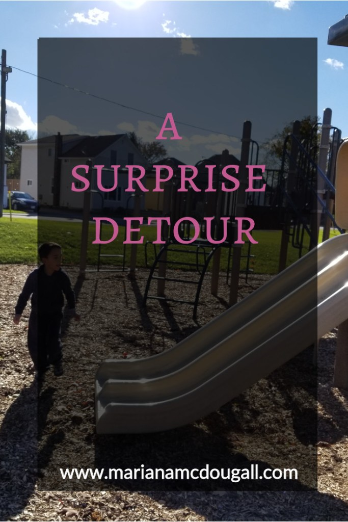 """Blog Title in pink and white letters against a black background: """"A Surprise Detour, www.marianamcdougall.com."""" Title set in front of a picture of a boy in a playground. He is walking beside a slide."""