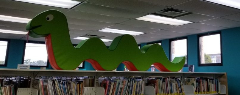 Toy snake decoration at Columbia County Main Library, Lake City, Florida