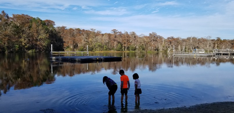 Three children wading in the water at Wakulla Springs.