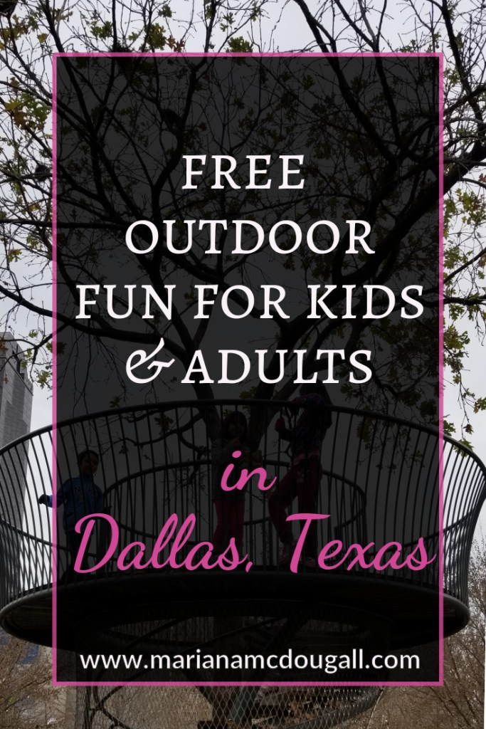 Free outdoor fun for kids and adults in Dallas, Texas, www.marianamcdougall.com. Picture of story tower in Klyde Warren Park in background