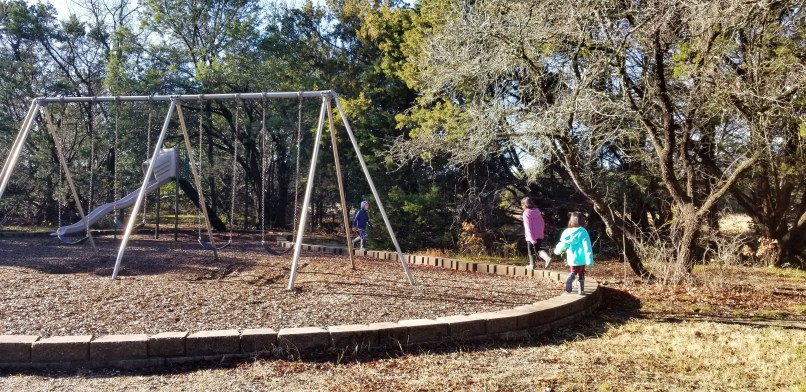 One boy and two girls playing at Dinosaur Valley State Park playground