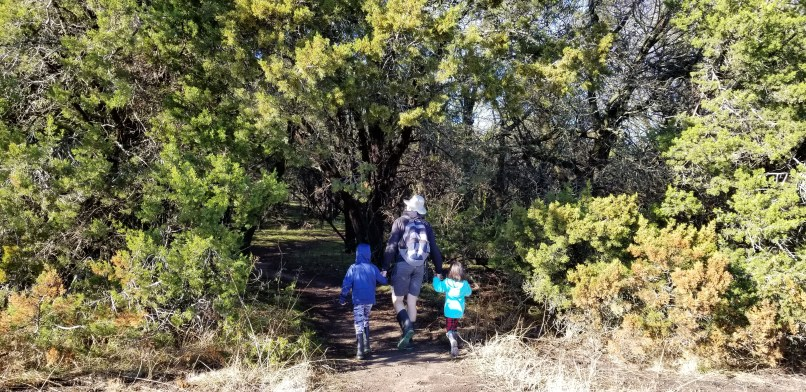 Father holding a boy and a girl's hand as they walk into the forest at Dinosaur Valley State Park