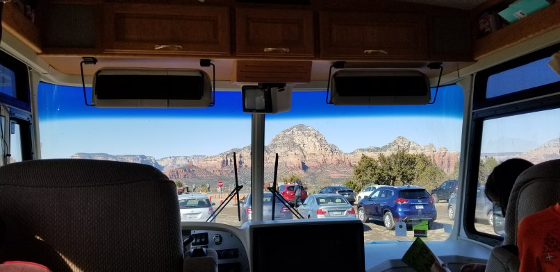 mountain range as viewed from airport mesa's parking lot (mountain can be seen through the windshield of a motorhome.)