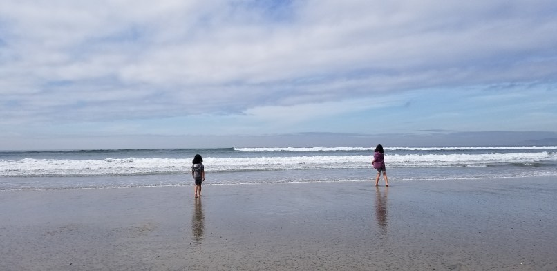 Two girls walking into the ocean at Silver Strand Beach, California