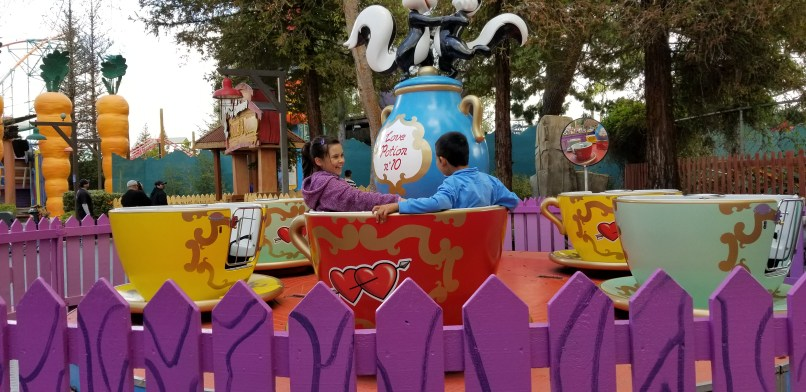 9-year-old girl and 6-year-old boy sitting in a tea cup ride at Six Flags Magic Mountain
