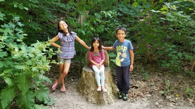 Three children in a forest. The youngest girl is sitting on a chair made from a tree stump. Her older sister is to her right and her older brother is to her left.