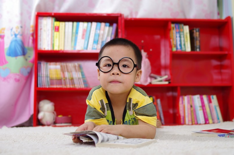 The Ultimate List of Free Homeschooling Resources on www.marianamcdougall.com. Photo description: boy wearing glasses and holding a book. There is a red bookshelf behind him. Image by Thế Anh Trần on Pixabay