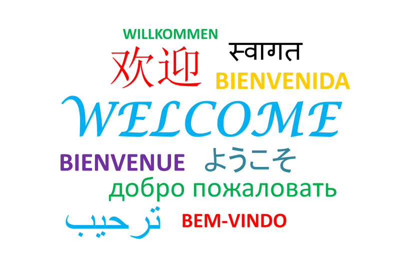 The word welcome written in several different languages. Free resources for learning new languages on www.marianamcdougall.com. Free resources for homeschooling. Image by Tumisu on Pixabay.