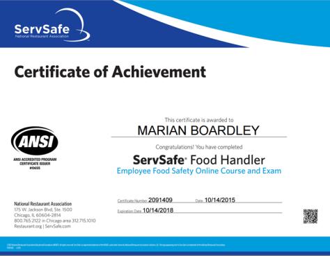 ServSafe Food Handlers Cert