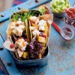 Aubergine- og geitost-taco med sweet chili sauce