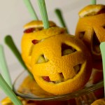 Fruktsalat i Halloween-appelsin