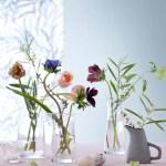 Vasen som reflekterer lys, vann og blomsterstilker