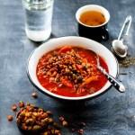 Meksikansk vegetarsuppe med ristet mais