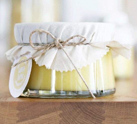 Oppskrift på lemon curd og etikett