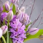 Lilla adventsbukett med tulipaner og svibler
