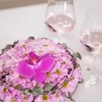 3 x rosa blomsterdekorasjoner til festbordet