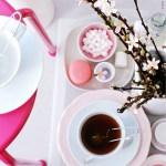 """Rosa bord til kaffeselskap, barnebursdag og """"afternoon tea"""""""