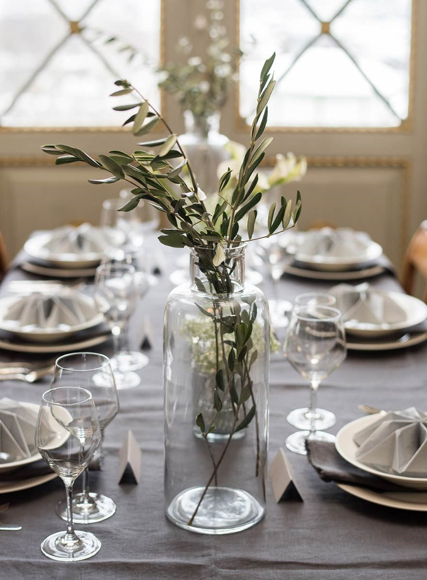 3 different table settings for a wedding