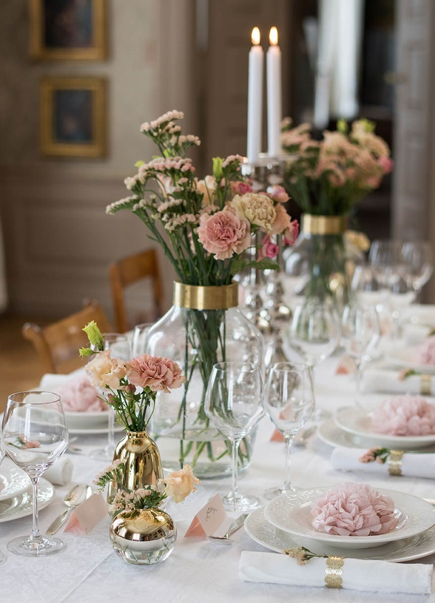 Table setting inspiration in pink for a wedding or christening