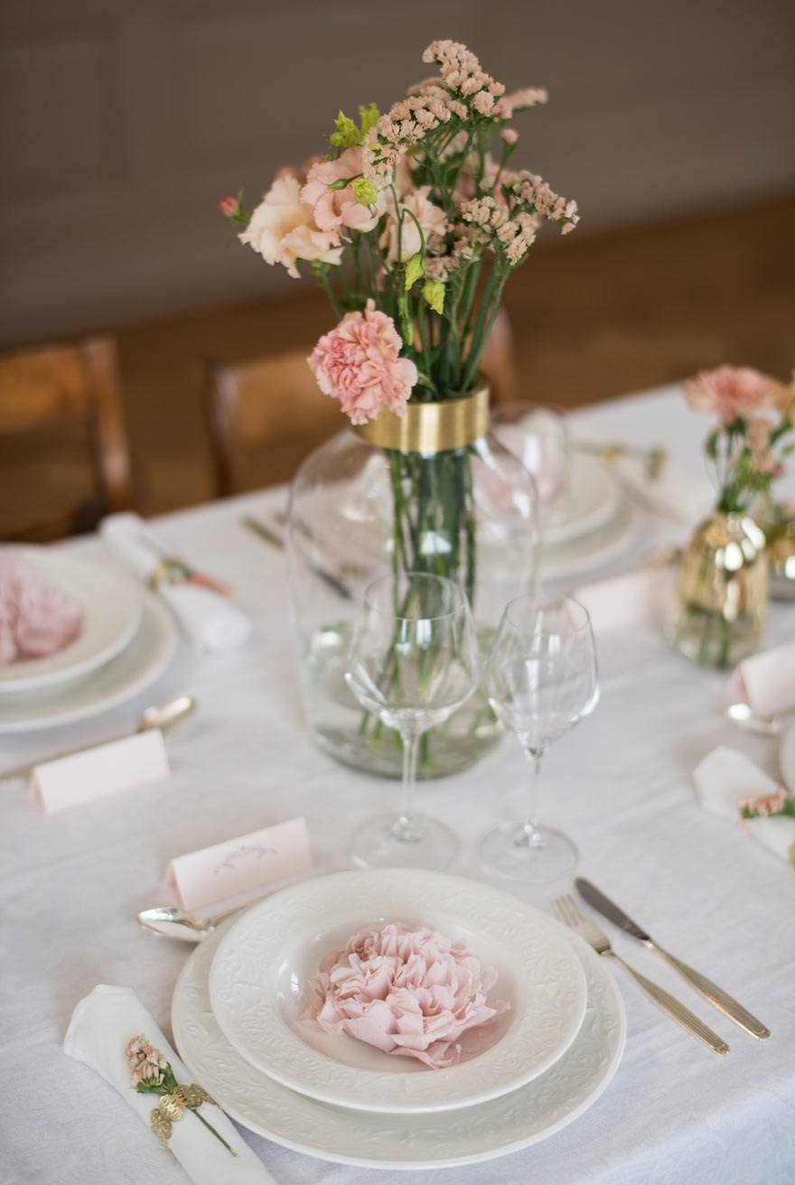 Beautiful paper napkin flowers for a wedding table setting