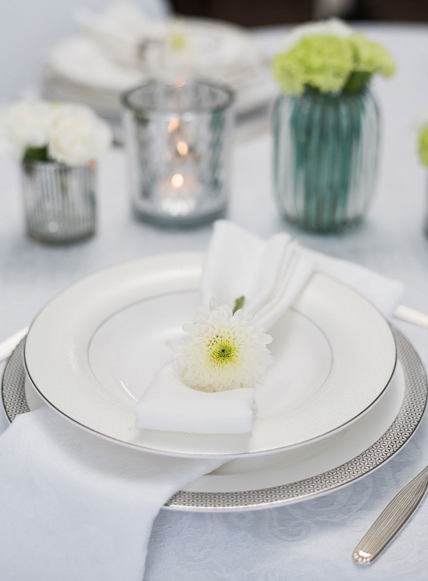 napkin with flower on the plate