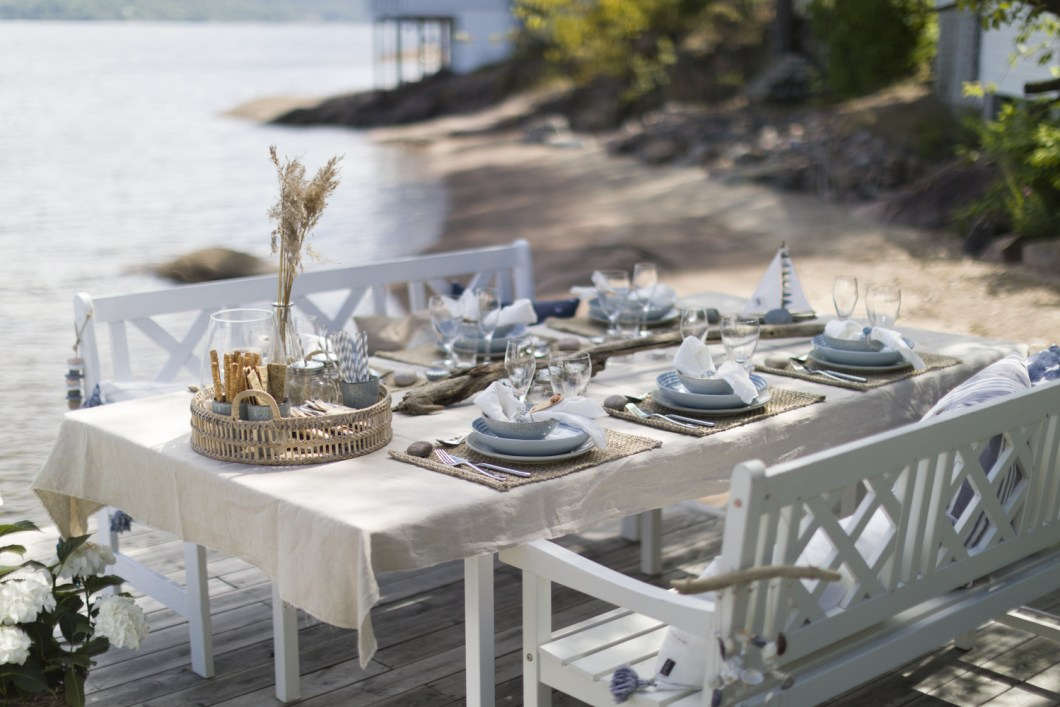 table setting beach summer sea