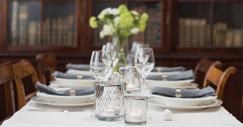 white and grey table decor