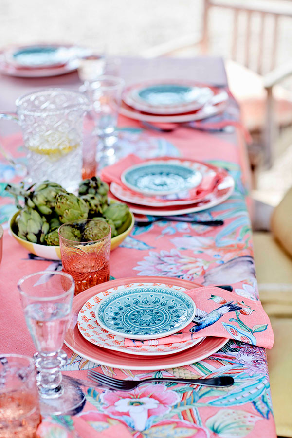 colorful table setting outdoors