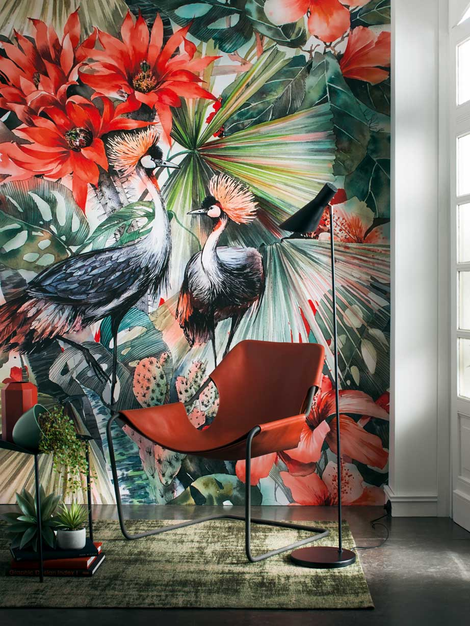 Wallpaper with tropical birds