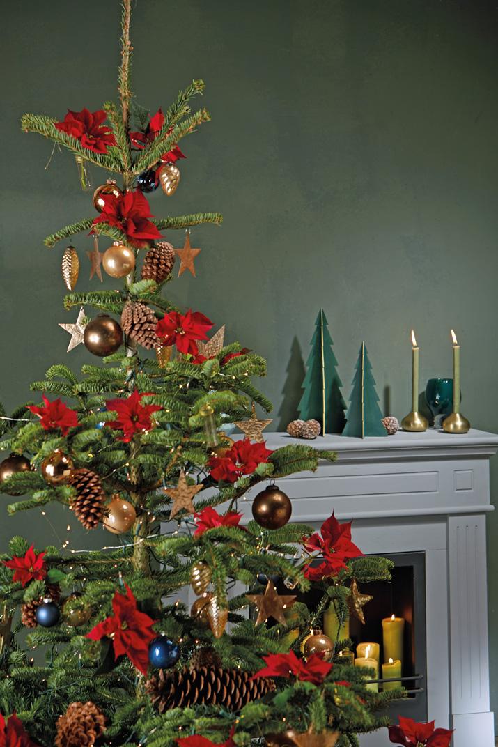 Juletre pyntet med røde julestjerner.