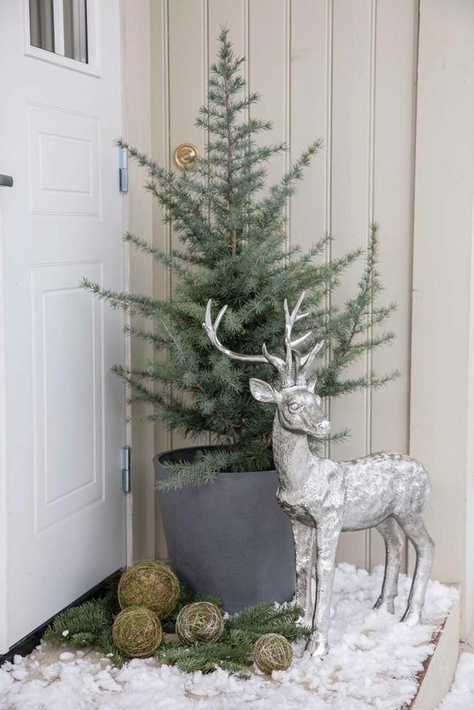Julepyntet inngangsparti med sedertre og hjort.